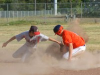 Trinity River Rapids shortstop, Quentin Matilton, steals secondbase safely against the Southern Humbodlt 76