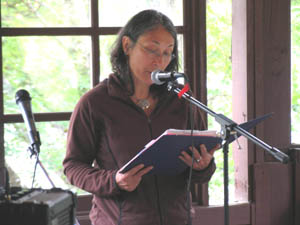 Local poet and Studio 299 Board Member, Mediha Saliba, reads some of her poetry at the workshop on June 10. / Photo courtesy of Tamara Jenkinson.