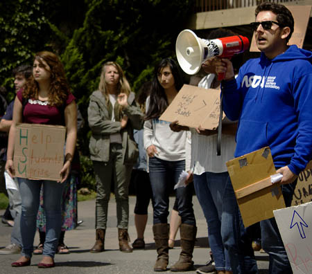SACNAS President Joe Camacho coordinated between multiple student clubs on campus to organize a demonstration on Friday May 9 to raise awareness on the lack of diversity among faculty and adminstration on campus./Photos by Ryan Nakano, TRT Contributing Writer
