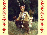 Merkie Oliver jumps center in an old photo from the mid-1950s. The picture was from an old film clip and repurposed for a tee shirt by his friends Thomas Dunklin, the Arcata photographer, and Brian Tripp, the Orleans-based artist and Karuk ceremony singer.
