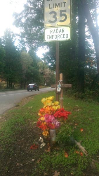 "A roadside memorial marks the area of Highway 299 in Willow Creek where 21-year-old Alejandro ""Alex"" Garcia was struck by a pickup truck in June of 2014. The assailant was later arrest on manslaughter, felony hit and run and DUI charges."