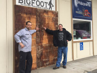 Ready Davis (left) and Chris Hern (right) surveyed the damage to their Willow Creek shop, Bigfoot Equipment and Repair after being burglarized on the evening of Saturday, January 2.