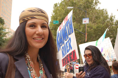 Former Hoopa Valley Tribal Council Member, Hayley Hutt shown outside of the California Water Resources Control Board Meeting in Sacramento on  July 17, 2012, where the Hoopa Tribe has continually asked the Water Board to stop stalling the 401 Clean Water Certification process for PacifiCorp. The Hoopa Valley Tribe has argued that stalling the 401 certification process only buys PacifCorp more without being accoutnable for the poor water quality conditions their dams cause on the Klamath River./TRT file photo.