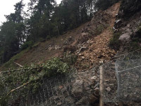 A rock slide on State Route 96 caused a road closure between Hoopa and Willow Creek near Tish Tang on Thursday, January 28.
