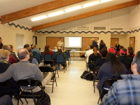 More than 20 Orleans area residents expressed their concerns about the dams on the Klamath River at a scoping meeting before California Water Resources Control Board officials last week. All of the speakers said they want the dams removed./Photo by Leslie Lollich, TRT Contributor.