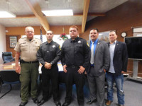 From left to right: Humboldt County Sheriff, Mike Downey; Hoopa Valley Tribal Police Officers Angel Yanez, Blake Hostler and Karl Norton; and Hoopa Valley Tribal Chairman, Ryan Jackson./Photo by Keterah Lipscomb, Two Rivers Tribune