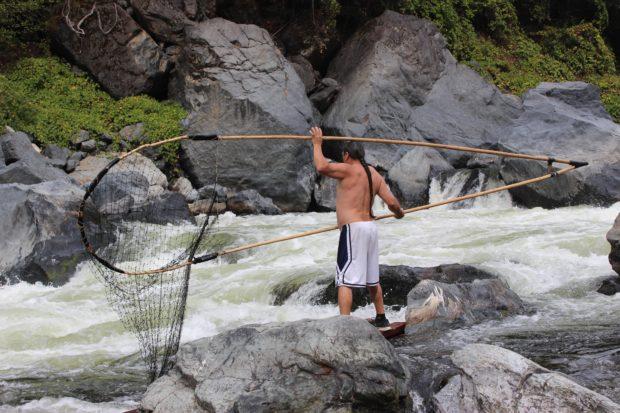 Ron Reed dip net fishing at Ishi Pishi Falls.