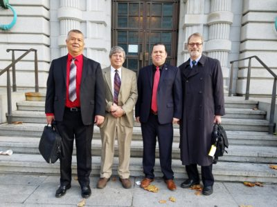 From left to right: Hoopa Valley Tribal Fisheries Director Mike Orcutt, Self-Governance Director Daniel Jordan, Chairman Ryan Jackson and Attorney Tom Schlosser.
