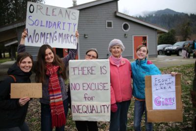 Women of all ages gathered Sunday in Orleans for their own version of the marches the day before that drew millions of women throughout the world./Photo by Konrad Fisher, Klamath Riverkeeper.
