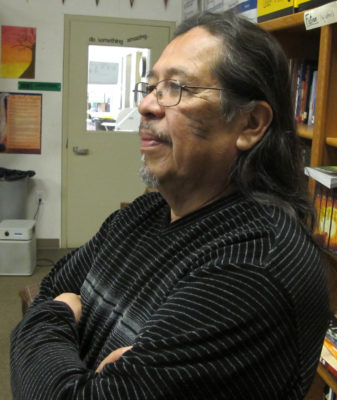 Julian Lang, the Karuk artist, scholar and language teacher, can also tell a traditional story in a way that can completely capture the imaginations of a group of grade school students. He joined a team that did presentations in Somes Bar, Orleans, Happy Camp and Yreka./Photo by Malcolm Terence, Two Rivers Tribune Contributor.