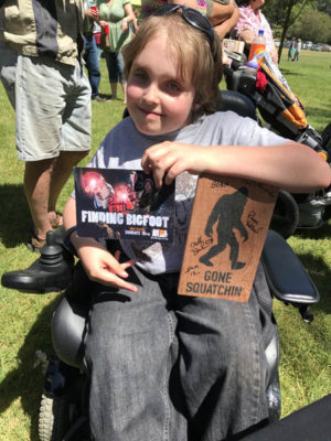 Samuel Colosio, 11, from Fortuna waited in line for more than two hours to obtain every Finding Bigfoot cast member/researcher's autograph on his wooden Bigfoot sign. Colosio has watched every episode in all six seasons of Finding Bigfoot.