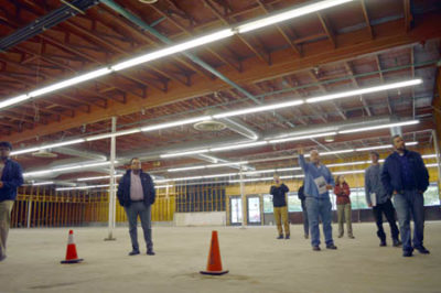 Greenway team went on a walk-through of the previous grocery store site with tribal staff. The building was gutted down to the foundation and walls following a rat infestation that came to light in June of 2016 when the store was closed because of the health hazard it posed. /Photo by Allie Hostler, Two Riverts Tribune.