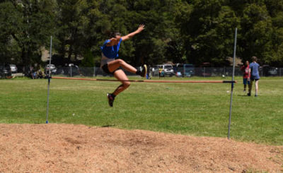 """Privately homeschooled Sienna Caffarata soars over the high jump bar for the win. Being a homeschooler meant Sienna didn't have the opportunity to """"formally"""" practice, but she took first place by jumping a whopping 47"""" in the final round."""