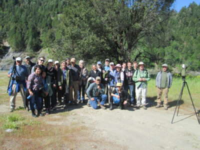 Birders gathered together for a group photo near the Camp Creek confluence with the Klamath River, Saturday, May 6, 2017./Photo courtesy Teresa Hacking.